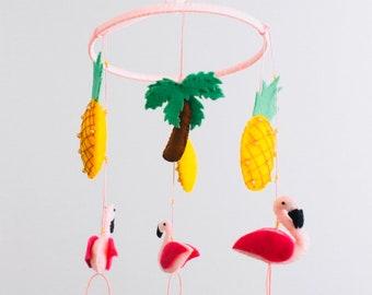 Flamingo and Pineapple Wool Felt Mobile