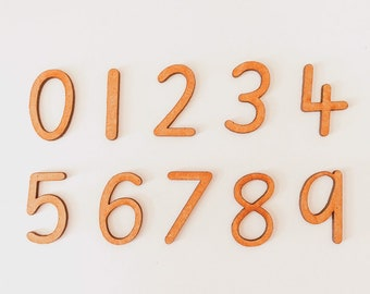 0-9 Print Wooden Numbers | 10 pieces