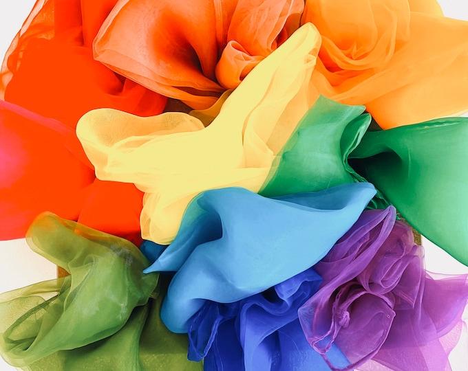 Featured listing image: Rainbow Sensory Scarves | Play Silks | 10 Colour Set | Earth Colours