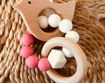 BIRD~ Natural Beech Wood Teethers with Silicone Beads