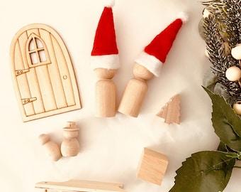 Christmas Play Set | Sleigh | Peg Doll | Snowman | Christmas Tree | Nativity | 10 piece set
