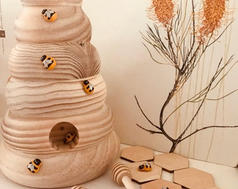 Large Natural Wooden Bee Hive