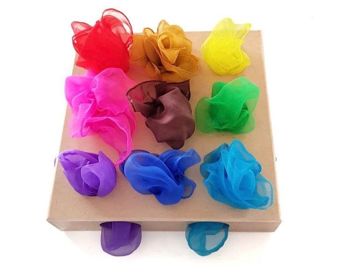 Featured listing image: Sensory Scarves | Play Silks | Rainbow Scarfs | Set of 6