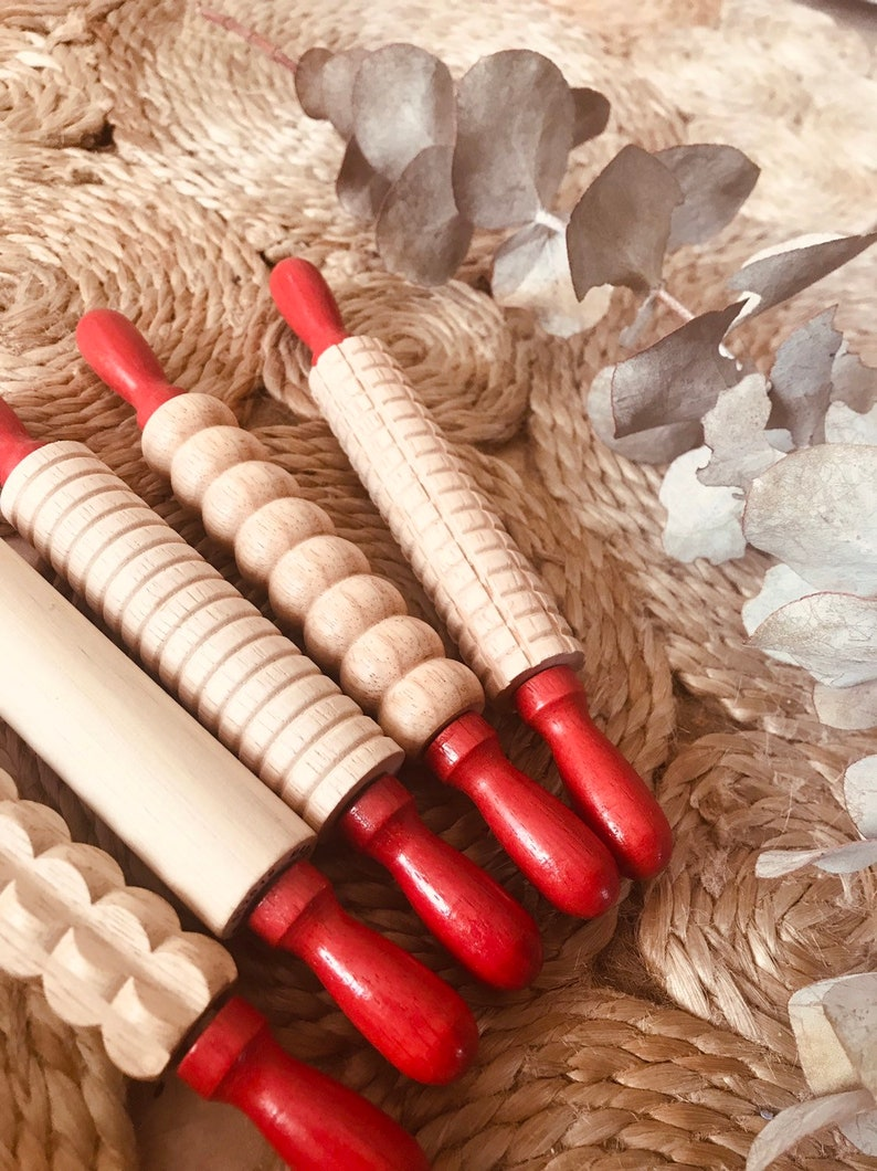 Small PATTERED Wooden Rolling Pin