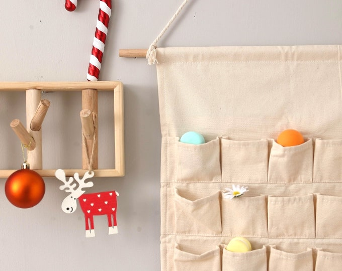 Featured listing image: LINEN Christmas ADVENT calendar featuring wooden numbers | With an option of a 25 Piece Gift Set and or | Personalised name