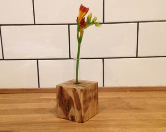 Rustic flower holder - with glass test tube