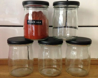 5 Glass storage jars - with labels of your choice.
