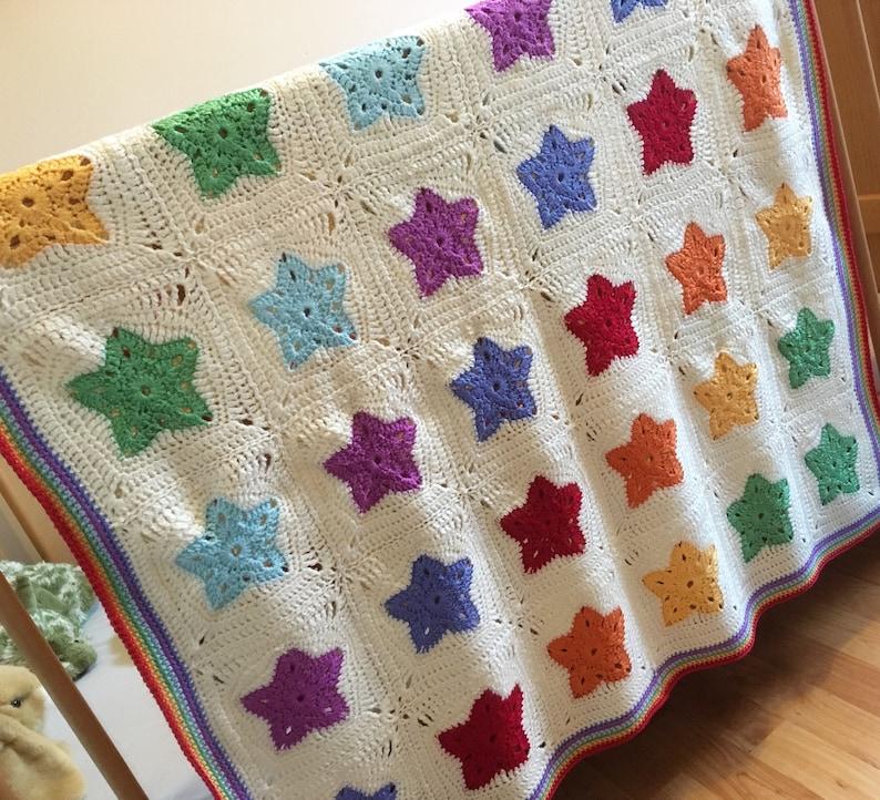 Rainbow of Stars Blanket Afghan Baby Blanket Crochet Pattern image 1