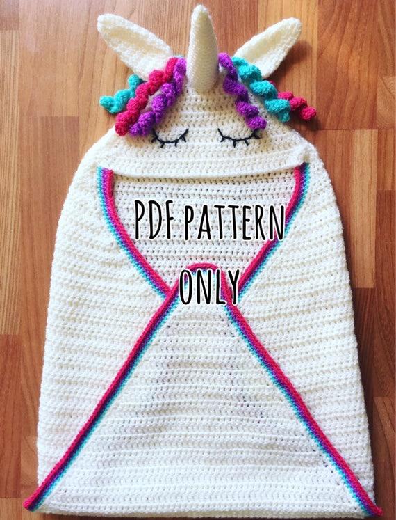 Unicorn Hooded Baby Wrap Blanket Crochet Pattern Etsy