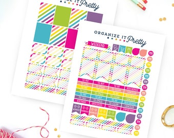 Printable Planner Stickers - Rainbow Planner Stickers - Rainbow Stripes   Fits Erin Condren Life Planner