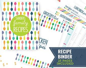 Printable Recipe Binder - Kitchen Binder - Family Recipe Binder - 23 Page Household Binder