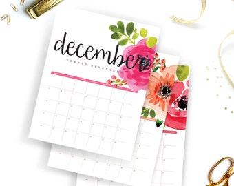 Printable Calendar 2017   Floral Calendar   Watercolor Wall Calendar   Instant Download