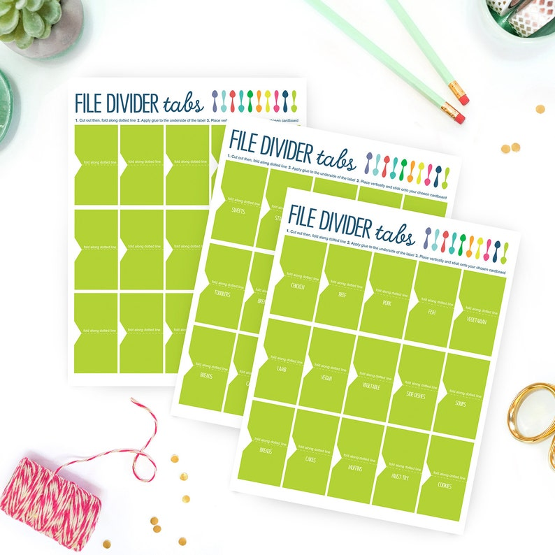 graphic relating to Printable Tab Dividers known as Printable Tab Dividers For Recipe Binder / Planner - Recipe Binder - Erin Condren Existence Planner