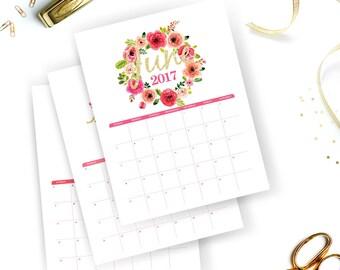 Printable Calendar 2017   Floral Watercolor Calendar   Watercolor Wall Calendar   Instant Download