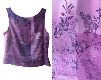 purple lavender sleeveless floral scarf patchwork pattern print crop cropped mid length shirt tank top, M, L, XL, plus size