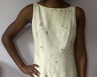 vintage delicate floral embroidery ivory silk mini tank dress
