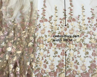 Chic and Elegant in Pastels Colors - Embroidered Lace - 120 cm Wide, Imported