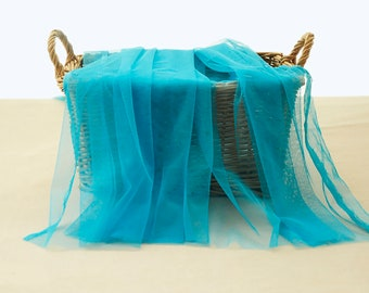 Hulan Blue Color _ Fine Soft Tulle - 150 cm Wide. Imported