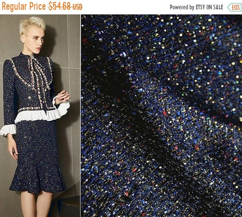 150 cm Wide Imported. ON SALE Navy with Colors Speckles and Sequins  Shimmering French Tweed