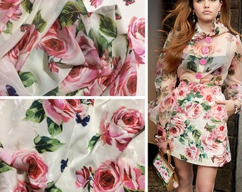 Pink Roses and Butterflies on Antique White Chiffon - 150 cm Wide, Imported.
