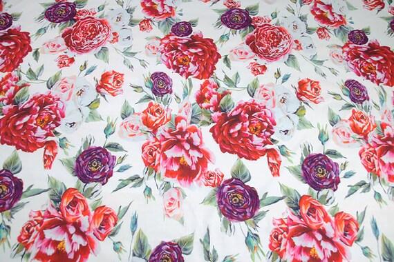Pivoines Floral sur fond blanc - tissu tissu - de coton popeline coton - 145 cm de large, importé. 807d17