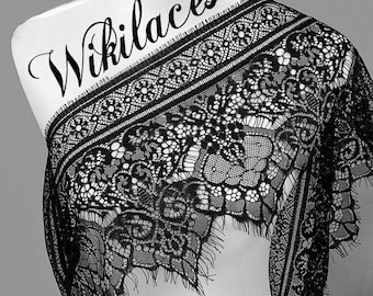 Stunning French Chantilly  Lace, Black or White Color - 25 cm  Wide, Imported.