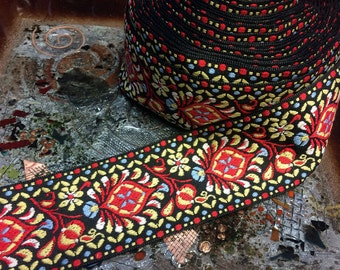 """Multi Color on Black - Floral Embroidered Cotton Jacquard Ribbon - 2"""" Wide"""