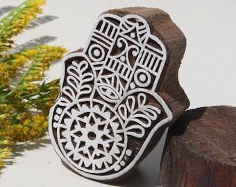 Tampon batik symbole de la main, sculpté à la main, pochoir, planche à imprimer -