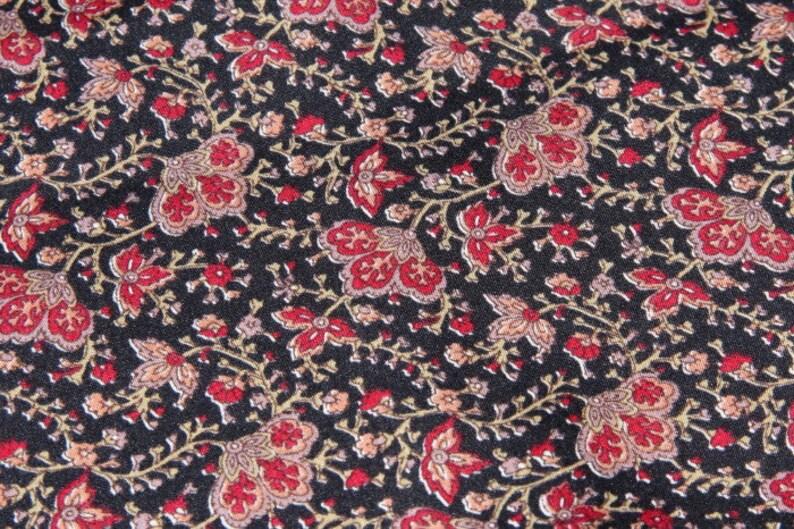 fabric coupon. Black saree with red flowers viscose sari