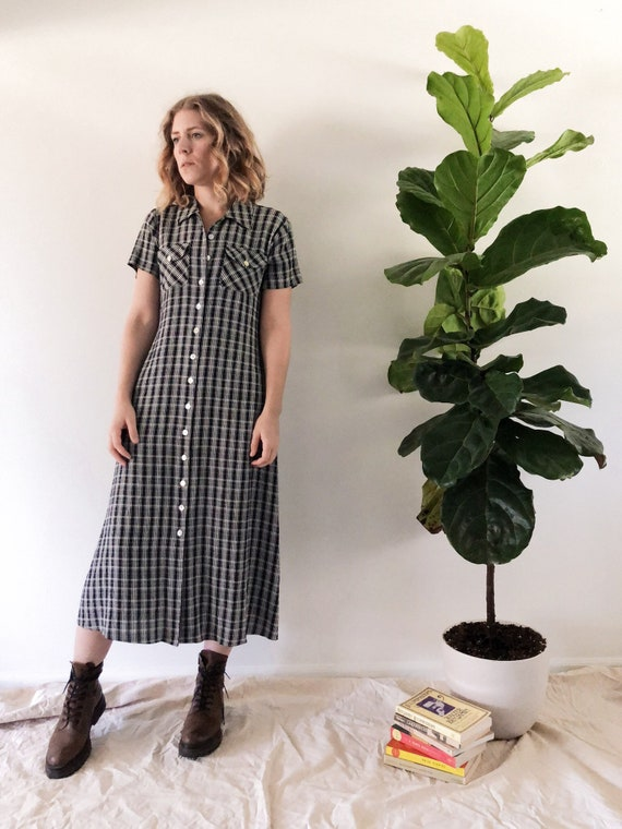 Vintage 1990s Plaid Midi Dress // S