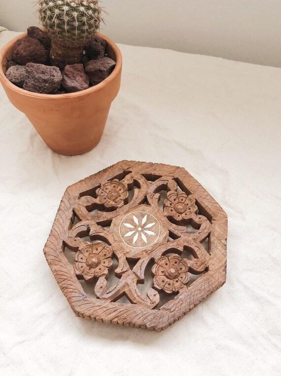 Vintage Carved Floral Teakwood Trivet Made in India
