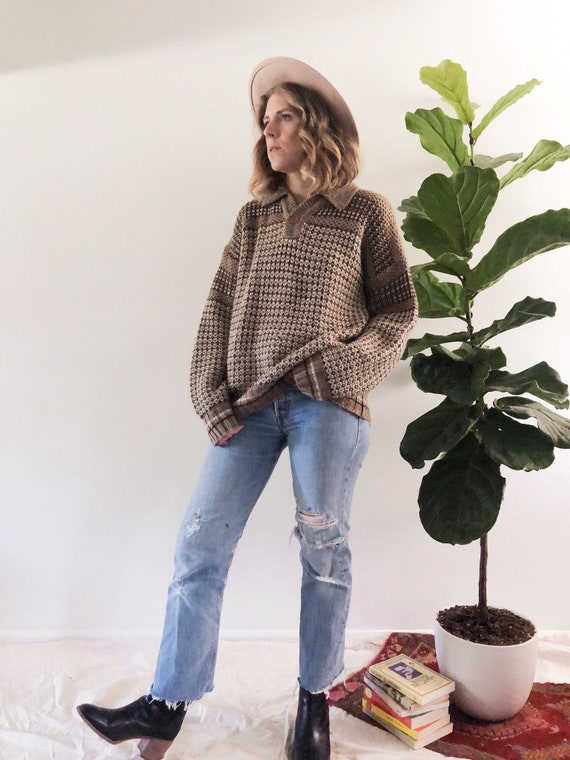 Vintage 70s Wool Blend Cozy Sweater // L