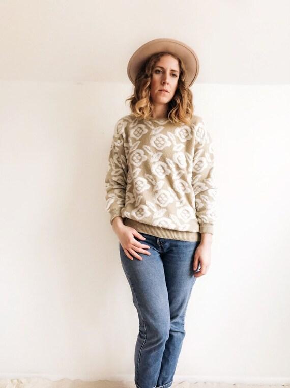 Vintage 1990s Floral Sweater // M/L
