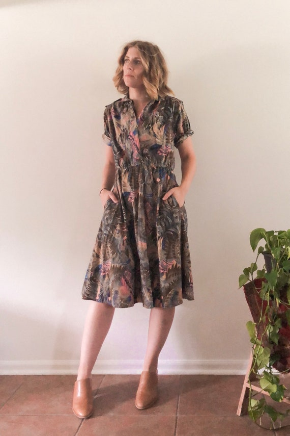 Vintage Peacock Day Dress // S