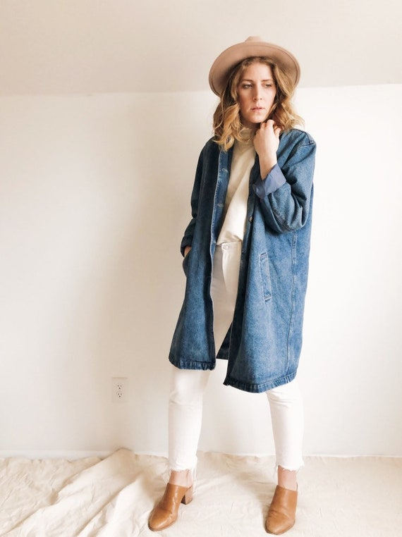 Vintage 90s Denim Trench : M / L