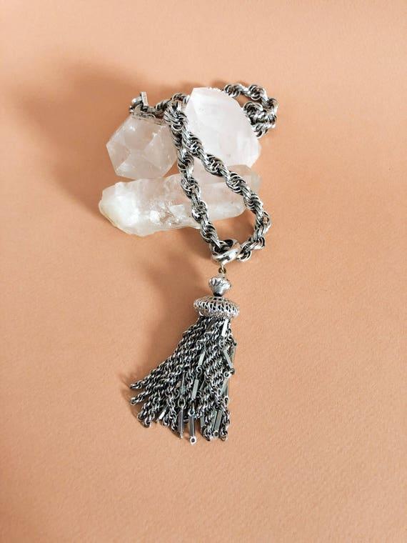 1960s  Vintage Silvertone Monet Tassel Necklace