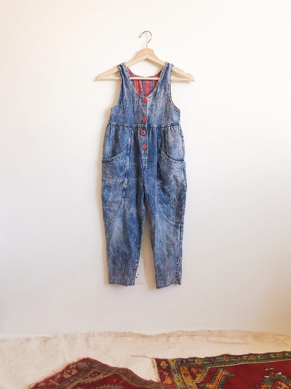 Vintage Kids Acidwashed Jumpsuit // 7/8