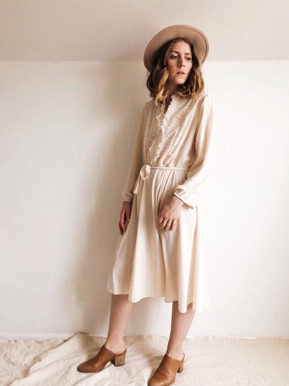 Vintage 70s Lace Dress : S / M