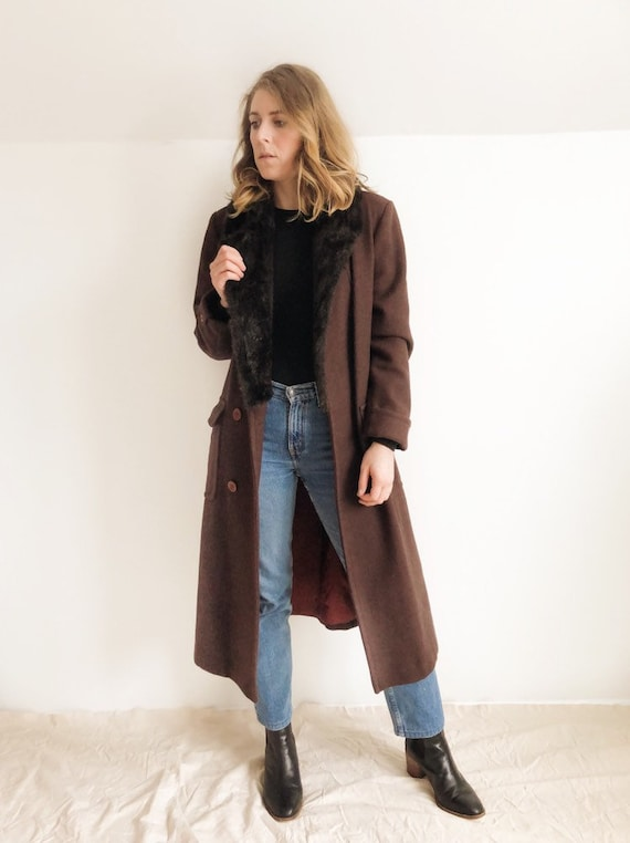 Vintage Faux-Fur Trimmed Wool Coat / M