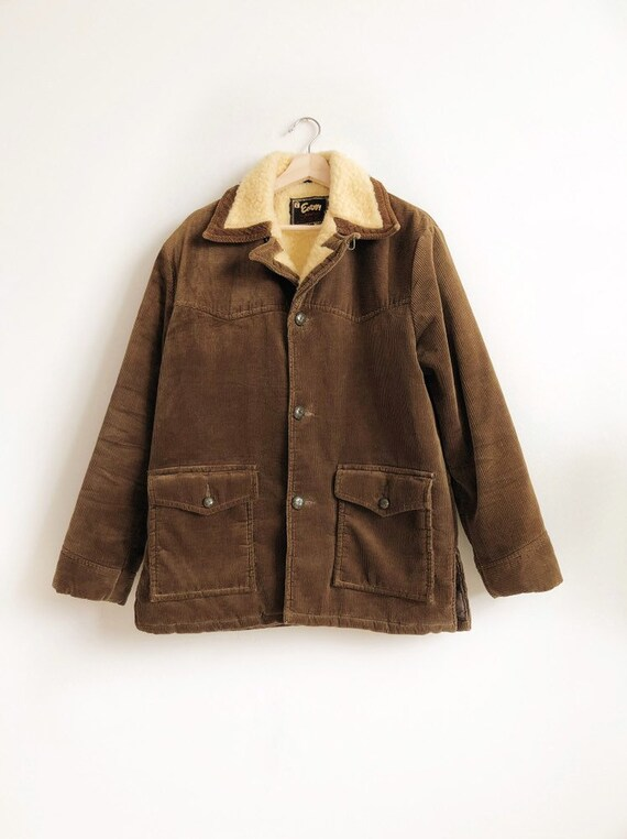 Vintage 1979s Corduroy Quilted Coat with Sherpa Collar / M