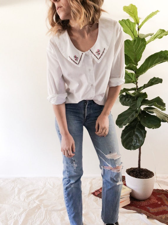Vintage 1980s Penny Lane Embroidered Blouse // S