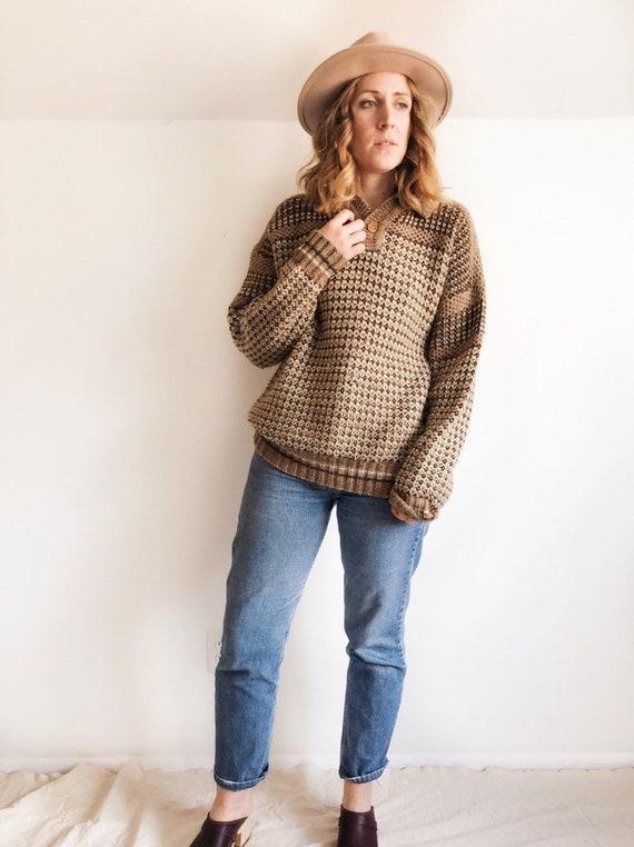 Vintage 70s Wool Blend Cozy Sweater // L