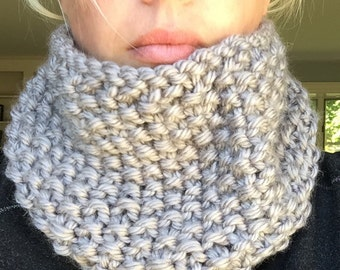 Hand knit cozy cowl in Soft Grey