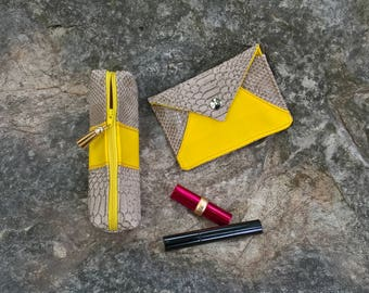 Set of beige and yellow pouches, Cardholder and make-up case, Beige and yellow envelope, Yellow and beige sleeve, Yellow and beige pouch