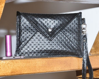 Black evening clutch bag with small rhinestones, Black and white New Year's Eve clutch bag with rhinestones, Clutch bag with a strap