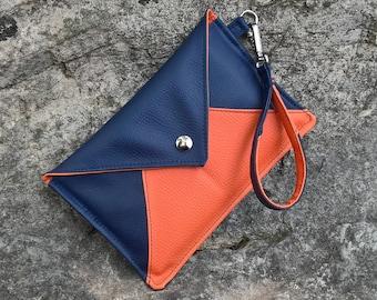 Clutch bag Navy Blue and orange wedding Midnight blue and orange, blue and orange clutch bag, retro clutch strap bag