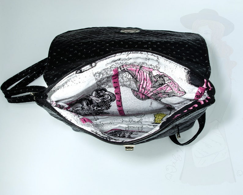 Small double pocket bag Black bag with rhinestones and shoulder strap Black evening bag with rhinestones Large Clutch bag ultra-flat
