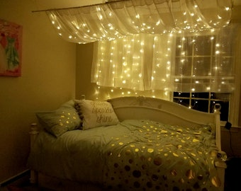 Bedroom fairy lights etsy - How to hang string lights in bedroom ...