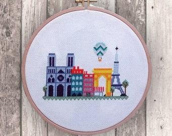 Paris - modern cross stitch pattern PDF Instant download