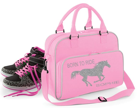 Personalised Pink//Grey ~ Born to Ride ~ Silver Glitter ~ School Bag Horse Pony